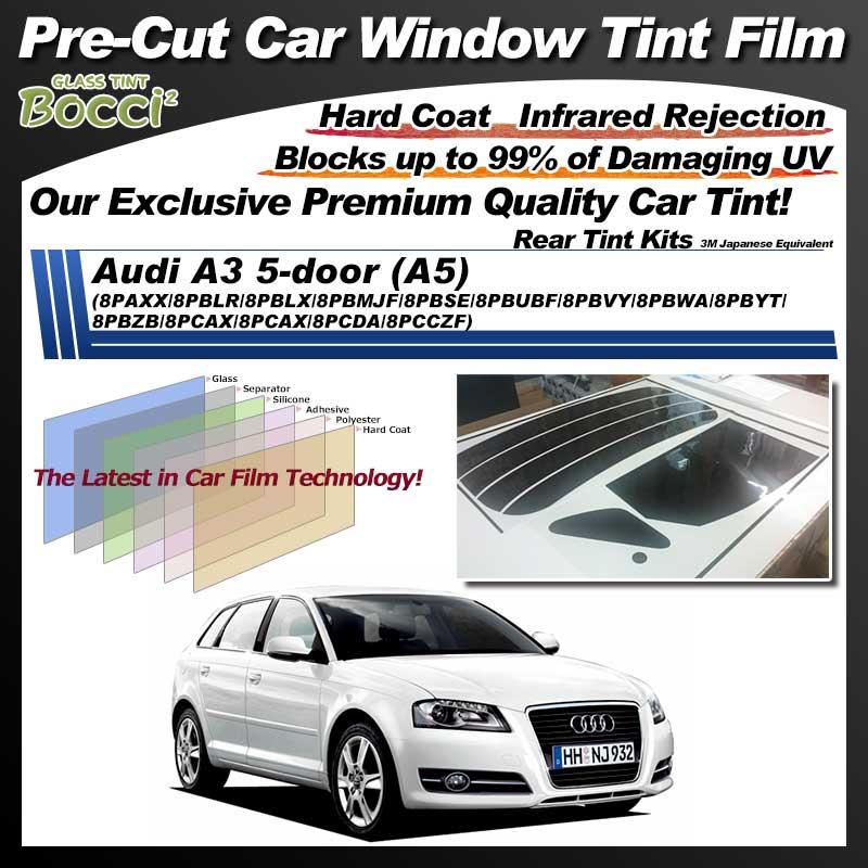 Audi A3 5-door (A5) (8PAXX/8PBLR/8PBLX/8PBMJF/8PBSE/8PBUBF/8PBVY/8PBWA/8PBYT/8PBZB/8PCAX/8PCAX/8PCDA/8PCCZF) Pre-Cut Car Tint Film UV IR 3M Japanese Equivalent