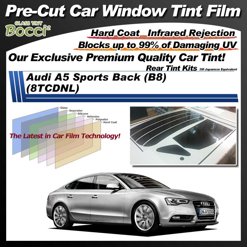 Audi A5 Sports Back (B8) (8TCDNL) Pre-Cut Car Tint Film UV IR 3M Japanese Equivalent