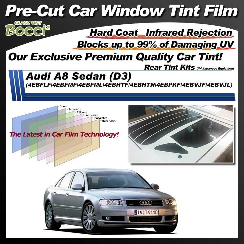 Audi A8 Sedan (D3) (4EBFLF/4EBFMF/4EBFML/4EBHTF/4EBHTN/4EBPKF/4EBVJF/4EBVJL) Pre-Cut Car Tint Film UV IR 3M Japanese Equivalent