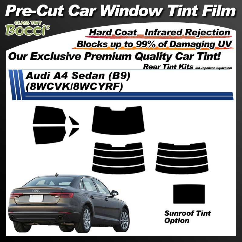 Audi A4 Sedan (B9) (8WCVK/8WCYRF) With Sunroof Pre-Cut Car Tint Film UV IR 3M Japanese Equivalent