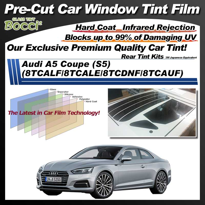 Audi A5 Coupe (S5) (8TCALF/8TCALE/8TCDNF/8TCAUF) Pre-Cut Car Tint Film UV IR 3M Japanese Equivalent