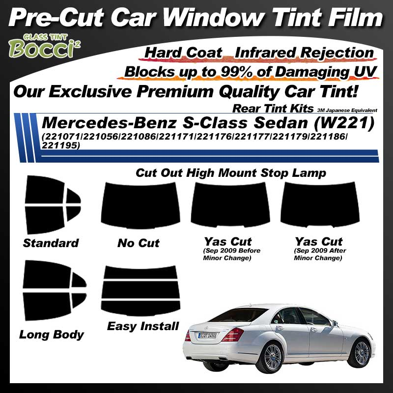 Mercedes-Benz S-Class Sedan (W221) (221071/221056/221086/221171/221176/221177/221179/221186/221195) Pre-Cut Car Tint Film UV IR 3M Japanese Equivalent