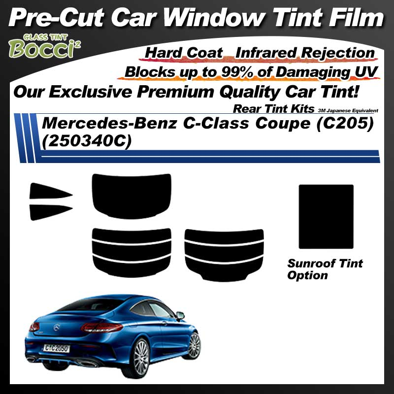 Mercedes-Benz C-Class Coupe (C205) (250340C) With Sunroof Pre-Cut Car Tint Film UV IR 3M Japanese Equivalent