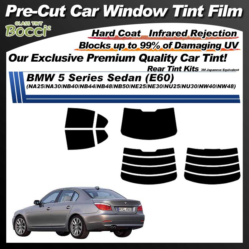 BMW 5 Series Sedan (E60) (NA25/NA30/NB40/NB44/NB48/NB50/NE25/NE30/NU25/NU30/NW40/NW48) Pre-Cut Car Tint Film UV IR 3M Japanese Equivalent