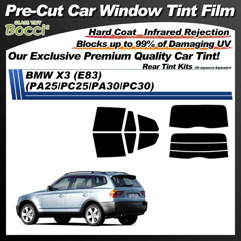 BMW X3 (E83) (PA25/PC25/PA30/PC30) Pre-Cut Car Tint Film UV IR 3M Japanese Equivalent