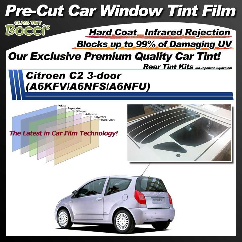 Citroen C2 3-door (A6KFV/A6NFS/A6NFU) Pre-Cut Car Tint Film UV IR 3M Japanese Equivalent