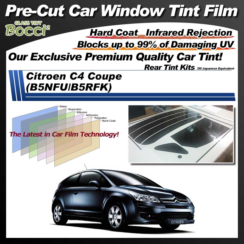 Citroen C4 Coupe (B5NFU/B5RFK) Pre-Cut Car Tint Film UV IR 3M Japanese Equivalent