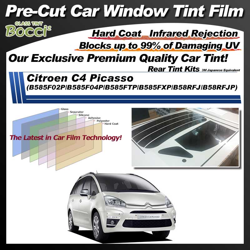 Citroen C4 Picasso (B585F02P/B585F04P/B585FTP/B585FXP/B58RFJ/B58RFJP) Pre-Cut Car Tint Film UV IR 3M Japanese Equivalent