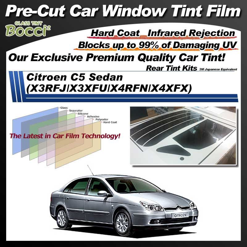 Citroen C5 Sedan (X3RFJ/X3XFU/X4RFN/X4XFX) Pre-Cut Car Tint Film UV IR 3M Japanese Equivalent