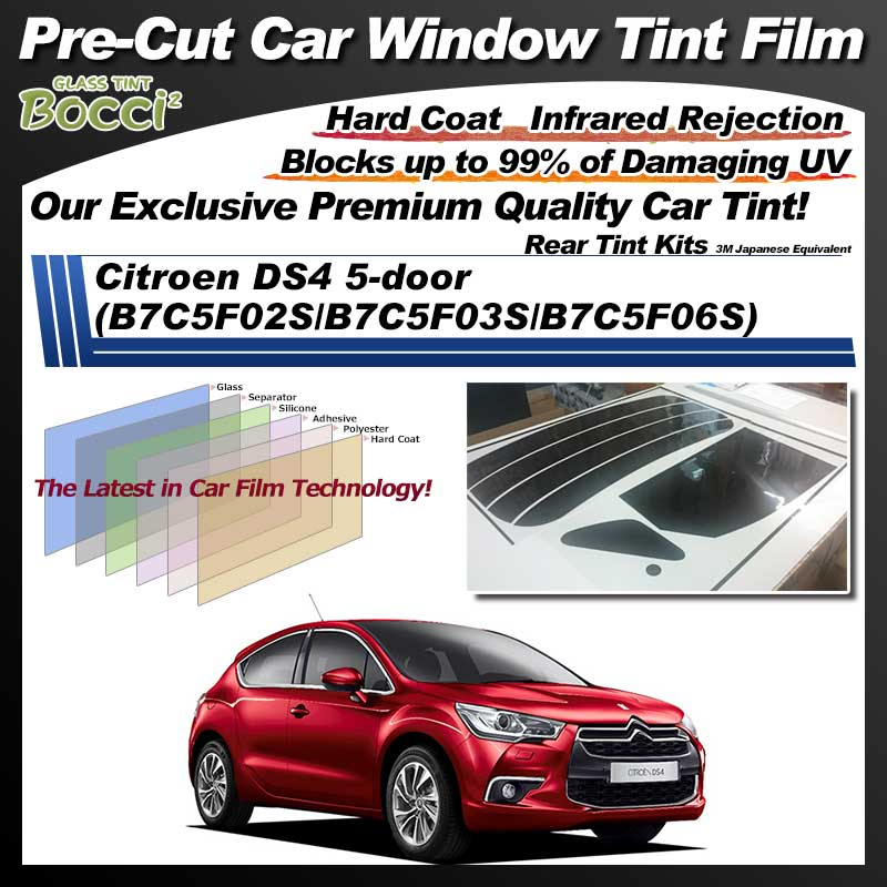 Citroen DS4 5-door (B7C5F02S/B7C5F03S/B7C5F06S) Pre-Cut Car Tint Film UV IR 3M Japanese Equivalent