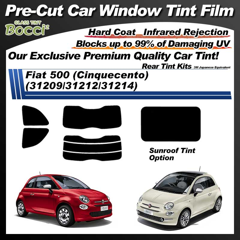 Fiat 500 (Cinquecento) (31209/31212/31214) With Sunroof Pre-Cut Car Tint Film UV IR 3M Japanese Equivalent