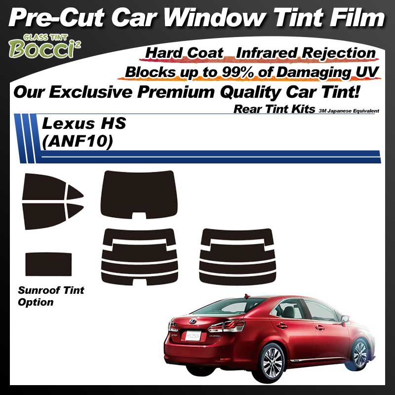 Lexus HS (ANF10) With Sunroof Pre-Cut Car Tint Film UV IR 3M Japanese Equivalent