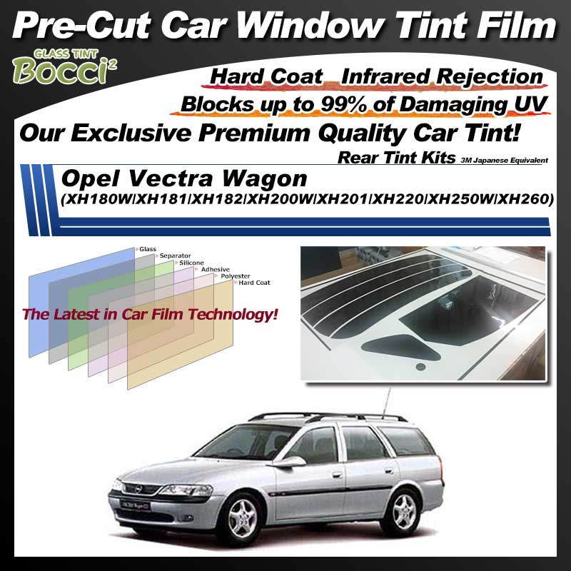 Opel Vectra Wagon (XH180W/XH181/XH182/XH200W/XH201/XH220/XH250W/XH260) Pre-Cut Car Tint Film UV IR 3M Japanese Equivalent