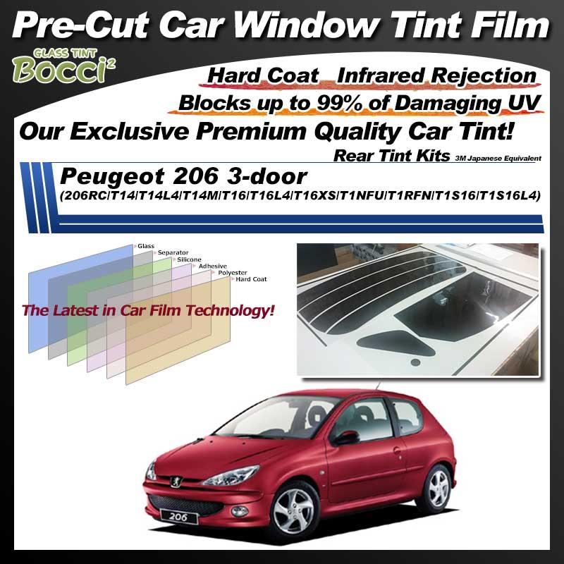 Peugeot 206 3-door (206RC/T14/T14L4/T14M/T16/T16L4/T16XS/T1NFU/T1RFN/T1S16/T1S16L4) Pre-Cut Car Tint Film UV IR 3M Japanese Equivalent
