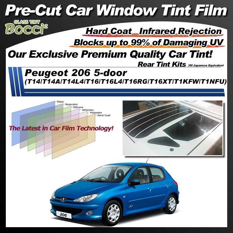 Peugeot 206 5-door (T14/T14A/T14L4/T16/T16L4/T16RG/T16XT/T1KFW/T1NFU) Pre-Cut Car Tint Film UV IR 3M Japanese Equivalent