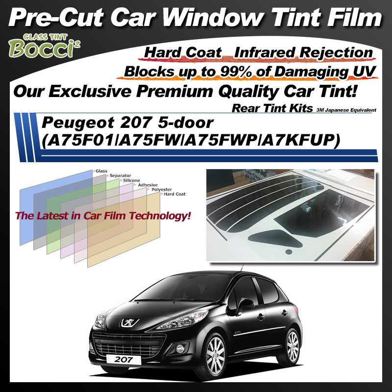 Peugeot 207 5-door (A75F01/A75FW/A75FWP/A7KFUP) Pre-Cut Car Tint Film UV IR 3M Japanese Equivalent