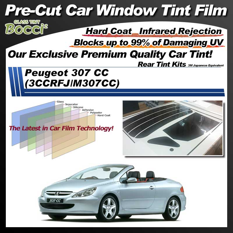 Peugeot 307 CC (3CCRFJ/M307CC) Pre-Cut Car Tint Film UV IR 3M Japanese Equivalent