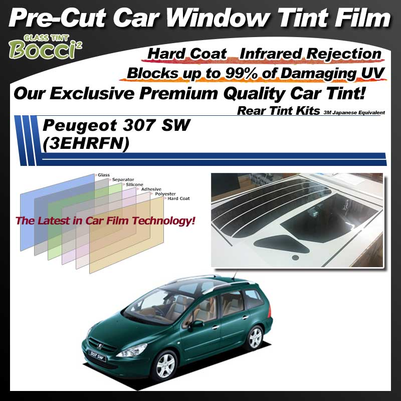 Peugeot 307 SW (3EHRFN) Pre-Cut Car Tint Film UV IR 3M Japanese Equivalent