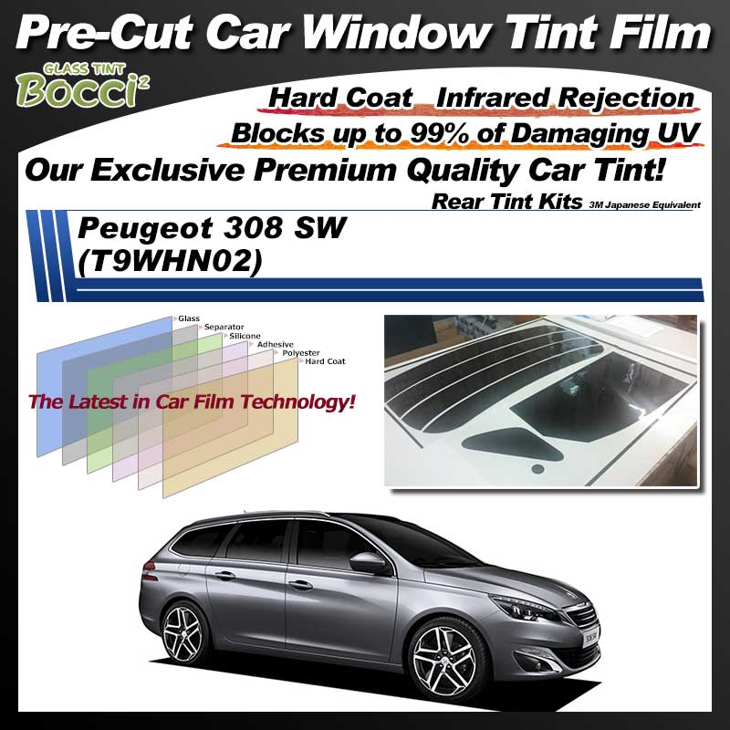Peugeot 308 SW (T9WHN02) Pre-Cut Car Tint Film UV IR 3M Japanese Equivalent