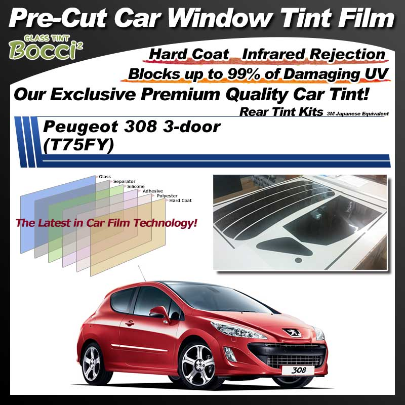 Peugeot 308 3-door (T75FY) Pre-Cut Car Tint Film UV IR 3M Japanese Equivalent