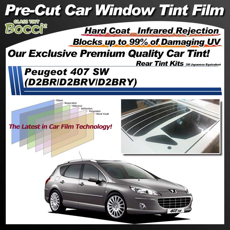 Peugeot 407 SW (D2BR/D2BRV/D2BRY) Pre-Cut Car Tint Film UV IR 3M Japanese Equivalent