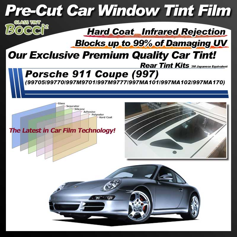 Porsche 911 Coupe (997) (99705/99770/997M9701/997M9777/997MA101/997MA102/997MA170) Pre-Cut Car Tint Film UV IR 3M Japanese Equivalent