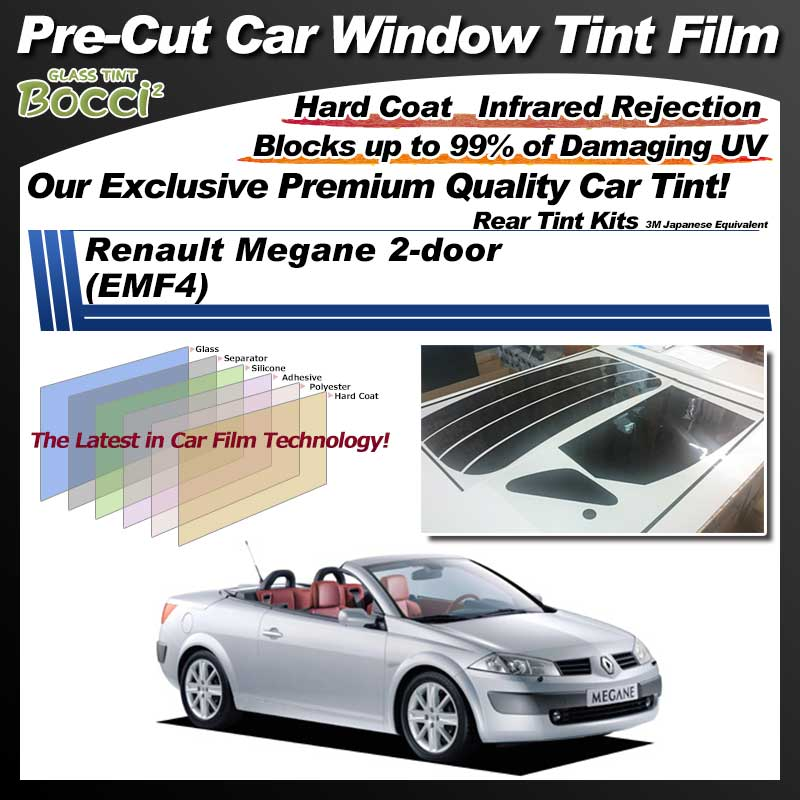 Renault Megane 2-door (EMF4) Pre-Cut Car Tint Film UV IR 3M Japanese Equivalent
