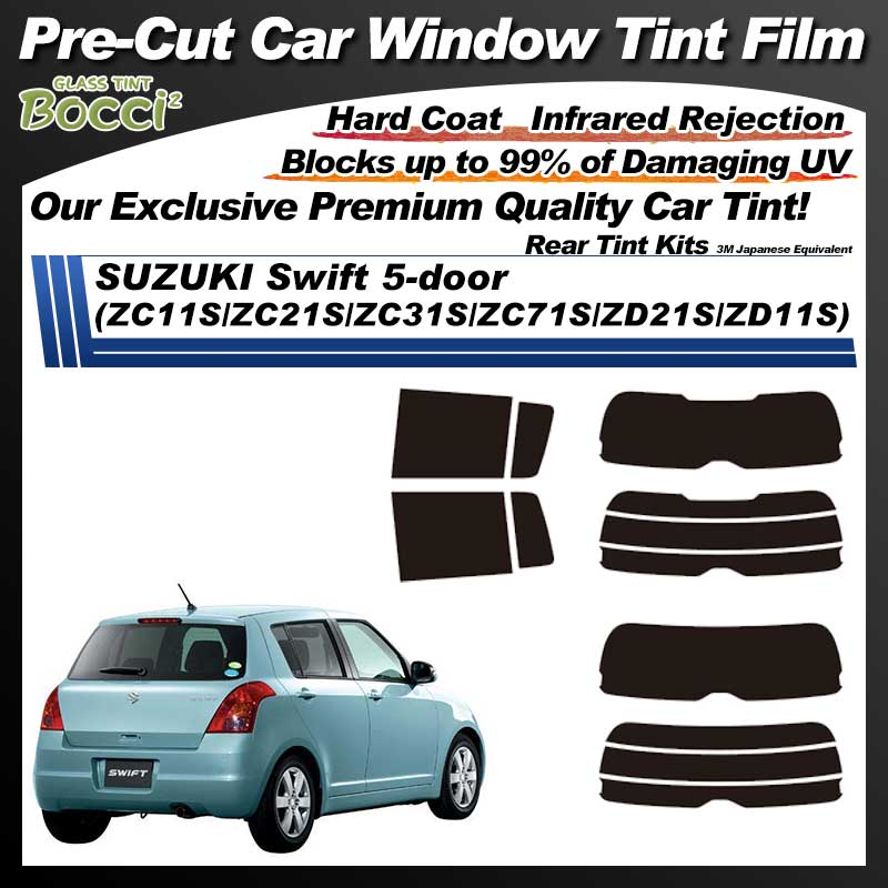 SUZUKI Swift 5-door (ZC11S/ZC21S/ZC31S/ZC71S/ZD21S/ZD11S) Pre-Cut Car Tint Film UV IR 3M Japanese Equivalent