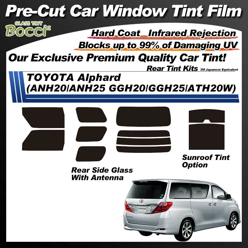 TOYOTA Alphard (ANH20/ANH25/GGH20/GGH25/ATH20W) With Sunroof Pre-Cut Car Tint Film UV IR 3M Japanese Equivalent