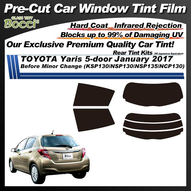 TOYOTA Yaris 5-doors January 2017 Before Minor Change (KSP130/NSP130/NSP135/NCP130) Pre-Cut Car Tint Film UV IR 3M Japanese Equivalent