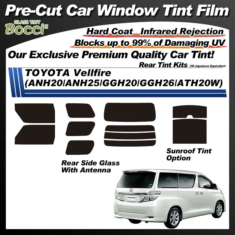 TOYOTA Vellfire (ANH20/ANH25/GGH20/GGH26/ATH20W) With Sunroof Pre-Cut Car Tint Film UV IR 3M Japanese Equivalent
