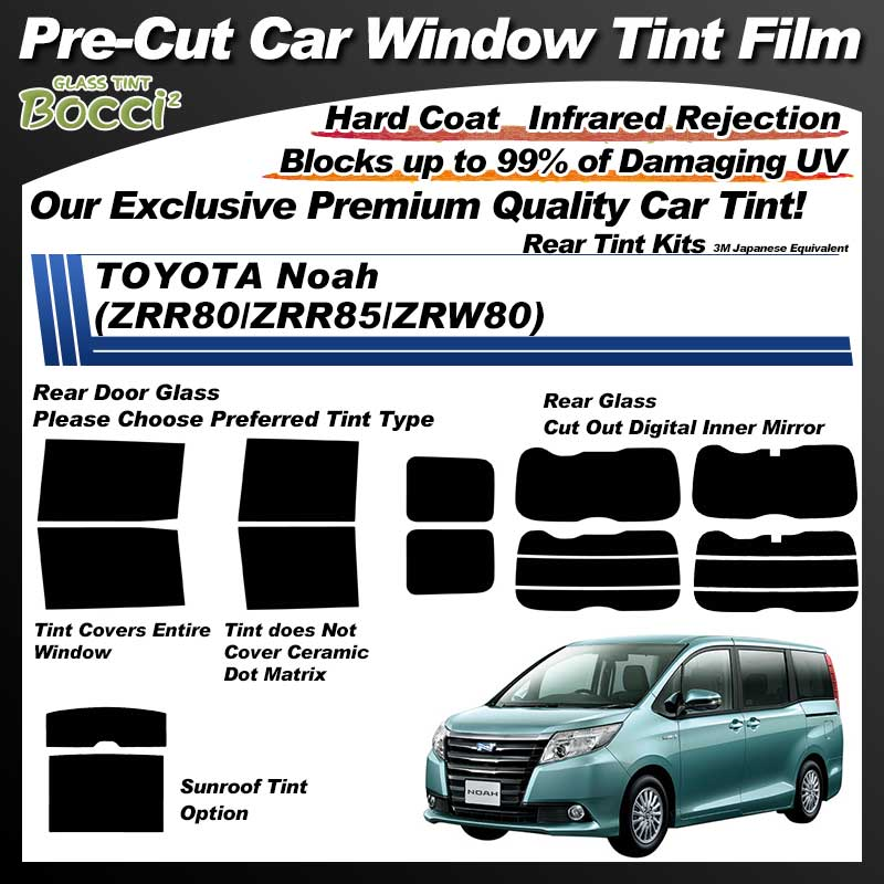 TOYOTA Noah (ZRR80/ZRR85/ZRW80) Professionally Thermally Shape Pre-Cut Car Tint Film UV IR 3M Japanese Equivalent