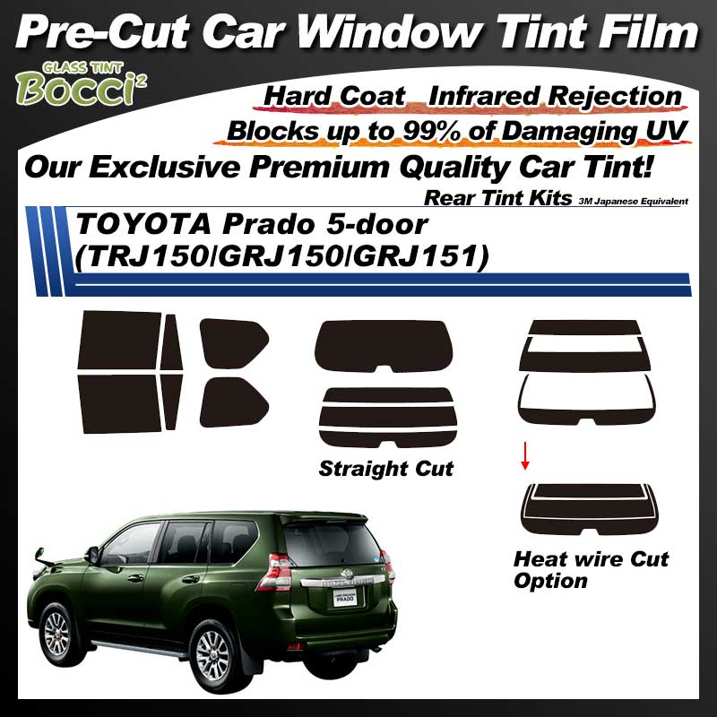 TOYOTA Prado 5-doors (TRJ150/GRJ150/GRJ151/GDJ150/GDJ151) With Sunroof Pre-Cut Car Tint Film UV IR 3M Japanese Equivalent