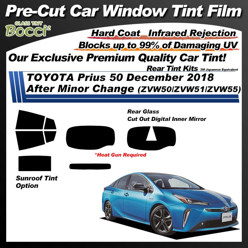 TOYOTA Prius 50 December 2018 After Minor Change (ZVW50/ZVW51/ZVW55) With Sunroof Pre-Cut Car Tint Film UV IR 3M Japanese Equivalent