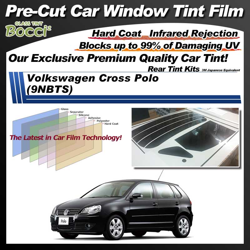 Volkswagen Cross Polo (9NBTS) Pre-Cut Car Tint Film UV IR 3M Japanese Equivalent