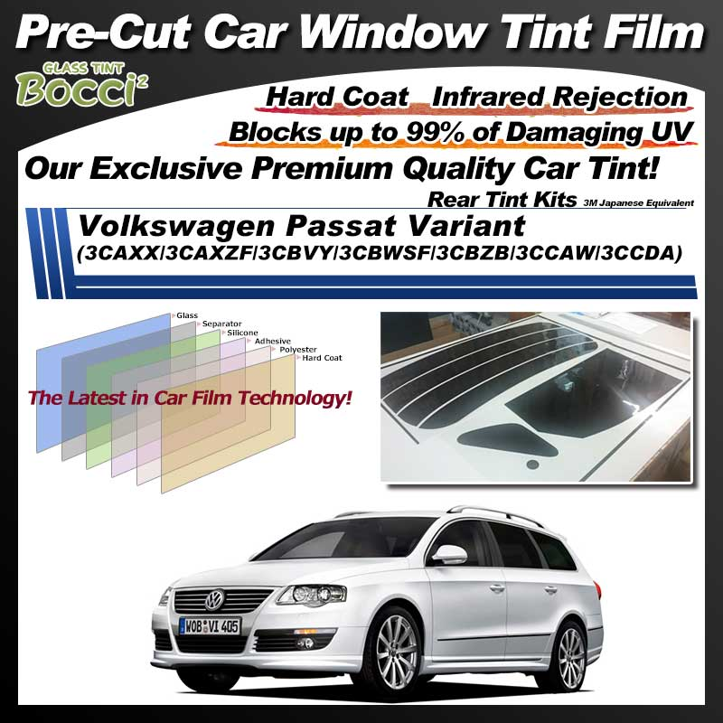 Volkswagen Passat Variant (3CAXX/3CAXZF/3CBVY/3CBWSF/3CBZB/3CCAW/3CCDA) Pre-Cut Car Tint Film UV IR 3M Japanese Equivalent