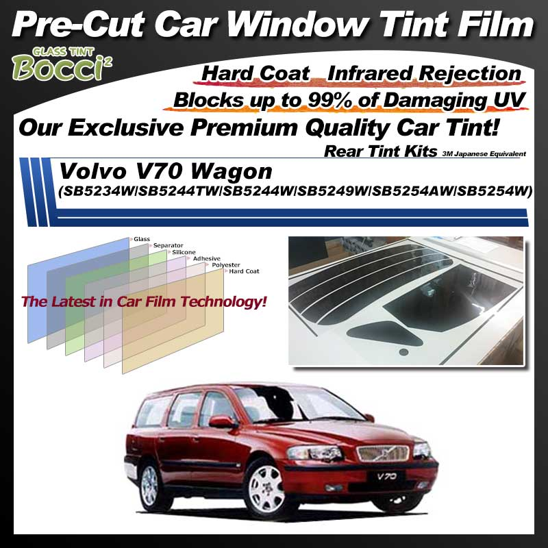 Volvo V70 Wagon (SB5234W/SB5244TW/SB5244W/SB5249W/SB5254AW/SB5254W) Pre-Cut Car Tint Film UV IR 3M Japanese Equivalent